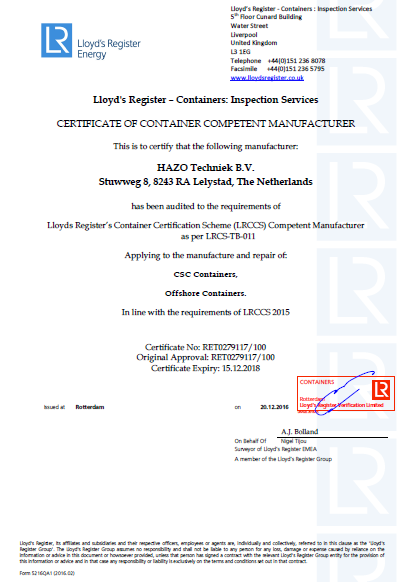 LIoyds Register - Certificate - Hazo Techniek BV